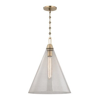 Garrison 1-Light Mini Pendant Finish: Aged Brass, Size: 18 H x 19 W x 14 D