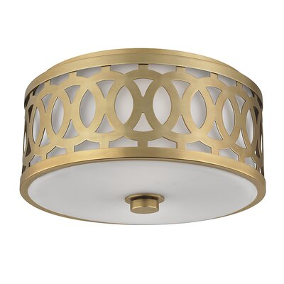 Maspeth 2-Light Flush Mount Finish: Aged Brass