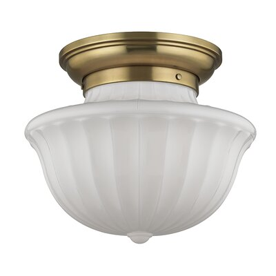 Emmett 1-Light Semi-Flush Mount Finish: Aged Brass, Size: 12.5 H x 15 W