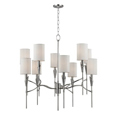 Tate 10-Light Shaded Chandelier Finish: Polished Nickel