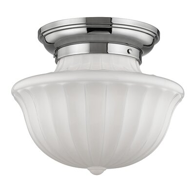 Emmett 1-Light Semi-Flush Mount Finish: Polished Nickel, Size: 12.5 H x 15 W