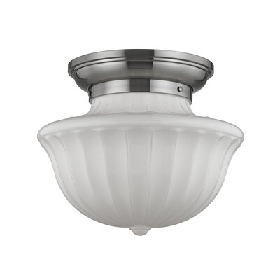Emmett 1-Light Semi-Flush Mount Finish: Satin Nickel, Size: 12.5 H x 15 W
