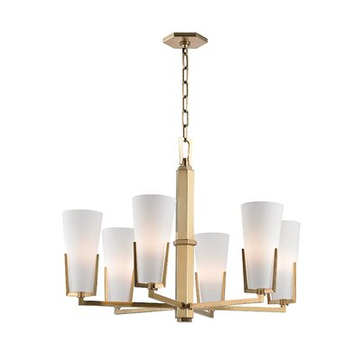 Levine 6-Light Shaded Chandelier Finish: Aged Brass