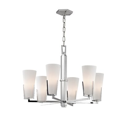 Upton 6-Light Shaded Chandelier Finish: Polished Chrome