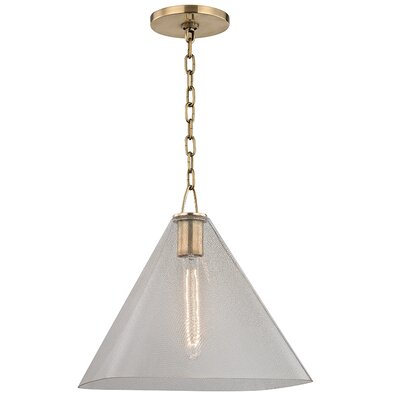 Jaylon 1-Light Mini Pendant Finish: Aged Brass, Size: 13.5 H x 14 W x 14 D