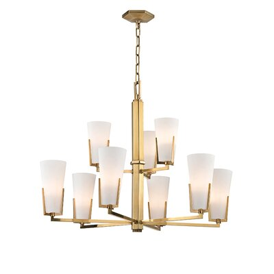 Levine 9-Light Shaded Chandelier Finish: Aged Brass
