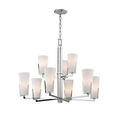 Levine 9-Light Shaded Chandelier Finish: Polished Chrome