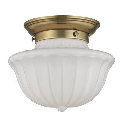 Emmett 1-Light Semi-Flush Mount Finish: Aged Brass, Size: 7.5 H x 9 W