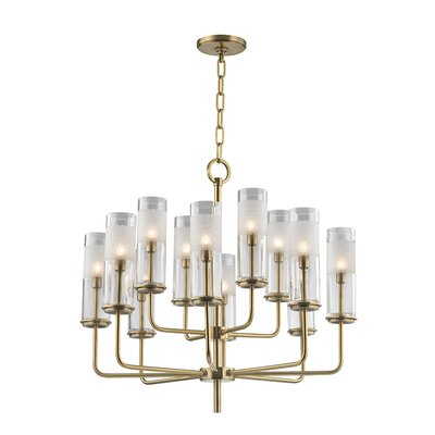 Lessman 12-Light Shaded Chandelier Finish: Aged Brass