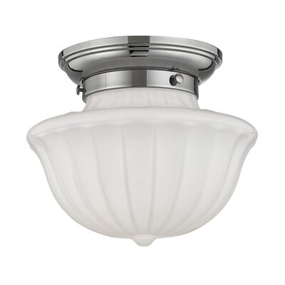 Emmett 1-Light Semi-Flush Mount Finish: Polished Nickel, Size: 7.5 H x 9 W