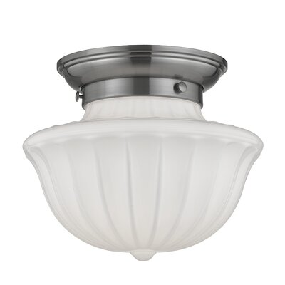Dutchess 1-Light Semi-Flush Mount Size: 7.5 H x 9 W, Finish: Satin Nickel