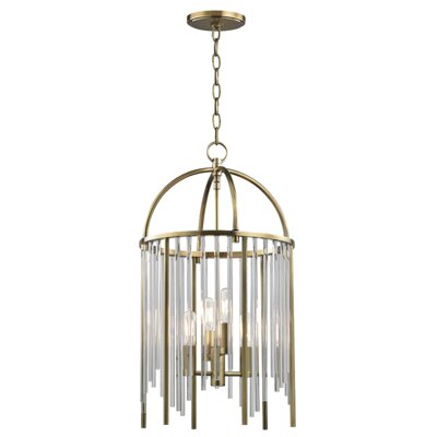 Lesko 4-Light Crystal Pendant Finish: Aged Brass
