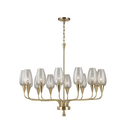 Longmont 14-Light Shaded Chandelier Finish: Aged Brass