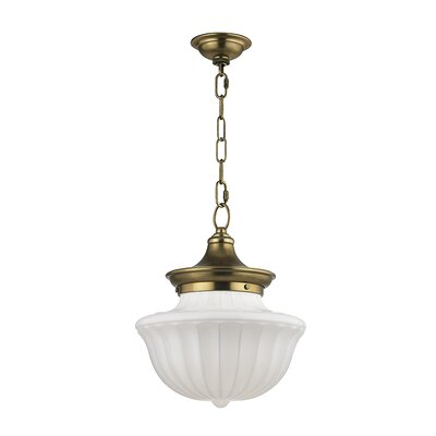 Emmett 1-Light Schoolhaouse Mini Pendant Finish: Satin Nickel, Size: 65.25 H x 9 W