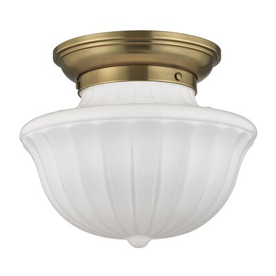 Emmett 1-Light Semi-Flush Mount Finish: Aged Brass, Size: 10 H x 12 W