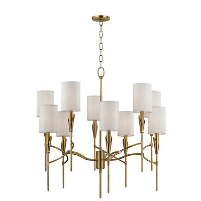 Levan 10-Light Shaded Chandelier Finish: Aged Brass