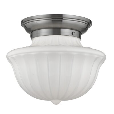 Emmett 1-Light Semi-Flush Mount Finish: Satin Nickel, Size: 10 H x 12 W