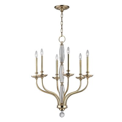 Philomena 6-Light Candle-Style Chandelier Color: Aged Brass