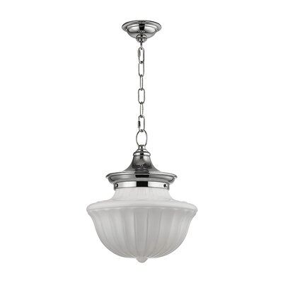 Emmett 1-Light Schoolhaouse Mini Pendant Finish: Polished Nickel, Size: 68.75 H x 12 W