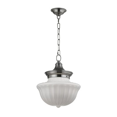Emmett 1-Light Schoolhaouse Mini Pendant Finish: Satin Nickel, Size: 68.75 H x 12 W