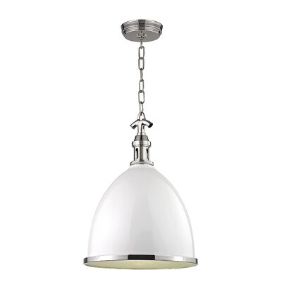 Ariela 1-Light Pendant Finish: White with Polished Nickel, Size: 23 H x 16.75 W