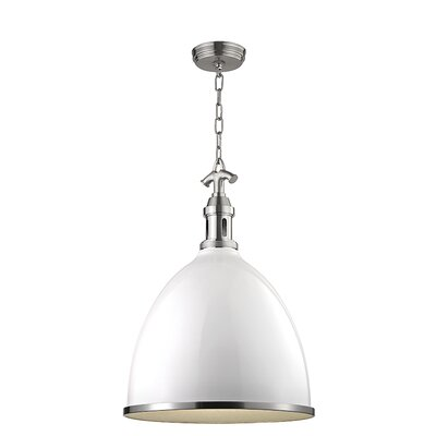 Viceroy 1-Light Pendant Finish: White with Satin Nickel, Size: 23 H x 16.75 W