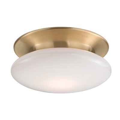 Simon 1-Light Semi-Flush Mount Finish: Satin Brass, Size: 4.75 H x 12 W