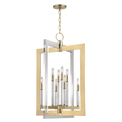 Mott 8-Light Pendant Finish: Aged Brass, Size: 26.5 H x 17.5 W x 17.5 D