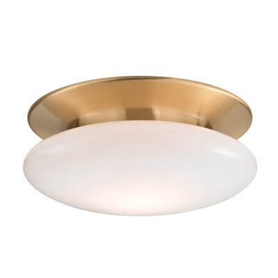 Simon 1-Light Semi-Flush Mount Finish: Satin Brass, Size: 5.5 H x 15 W