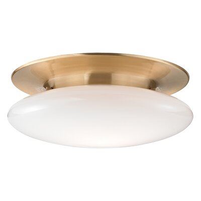 Simon 1-Light Semi-Flush Mount Finish: Satin Brass, Size: 6.5 H x 18 W