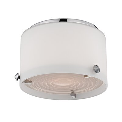 Casperson 1-Light Flush Mount Finish: Polished Nickel, Size: 4 H x 10 W