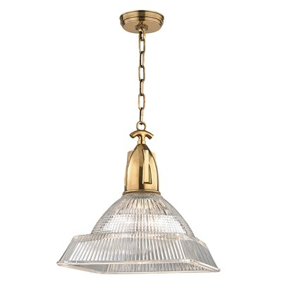 Hoffmann 1-Light Mini Pendant Finish: Aged Brass, Size: 16.25 H x 14 W x 14 D