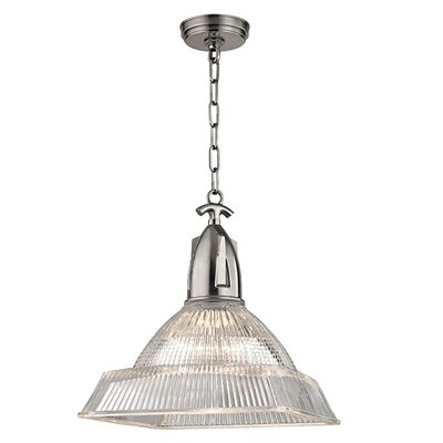 Langdon 1-Light Mini Pendant Finish: Historic Nickel, Size: 16.25 H x 14 W x 14 D