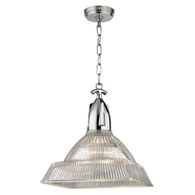 Hoffmann 1-Light Mini Pendant Finish: Polished Nickel, Size: 16.25 H x 14 W x 14 D