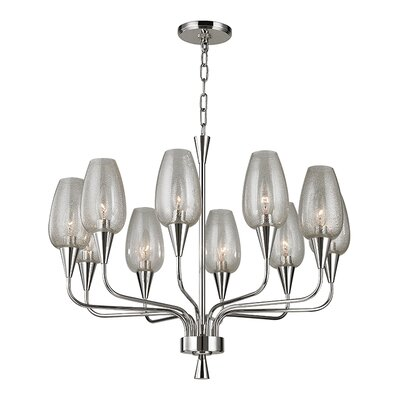 Lesure 10-Light Shaded Chandelier Finish: Polished Nickel