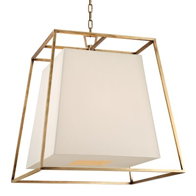 Casner 4-Light Foyer Pendant Finish: Aged Brass, Shade Color: White