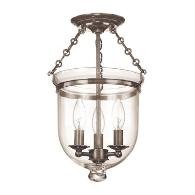 Williamsburg Hampton 3-Light Semi Flush Mount Finish / Shade Material: Historic Nickel/C1