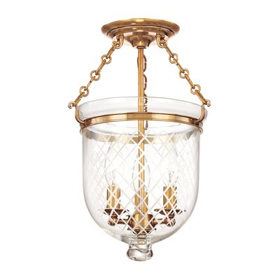 Williamsburg Hampton 3-Light Semi Flush Mount Finish / Shade Material: Aged Brass/C2