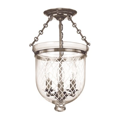 Williamsburg Hampton 3-Light Semi Flush Mount Finish / Shade Material: Historic Nickel/C2