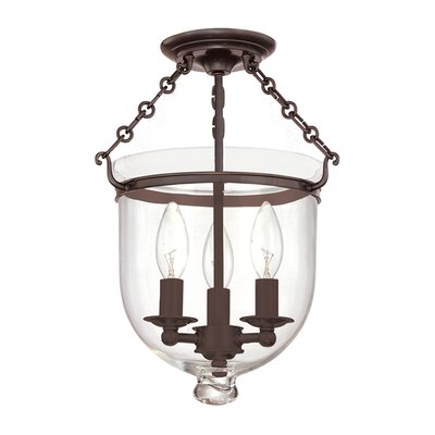 Williamsburg Hampton 3-Light Semi Flush Mount Finish / Shade Material: Old Bronze/C1
