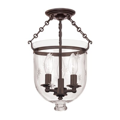 Williamsburg Hampton 3-Light Semi Flush Mount Finish / Shade Material: Old Bronze/C3