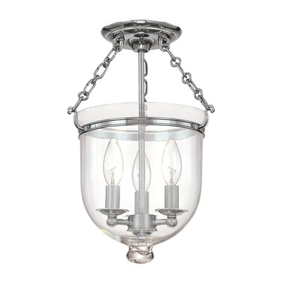 Williamsburg Hampton 3-Light Semi Flush Mount Finish / Shade Material: Polished Nickel/C1