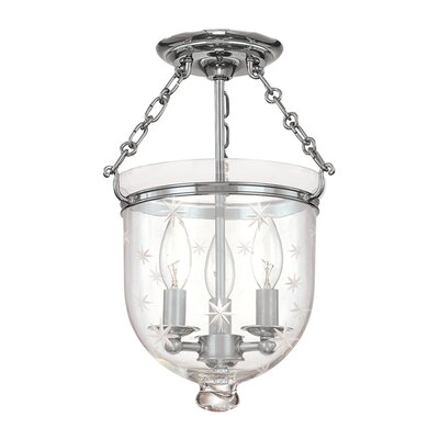Williamsburg Hampton 3-Light Semi Flush Mount Finish / Shade Material: Polished Nickel/C3
