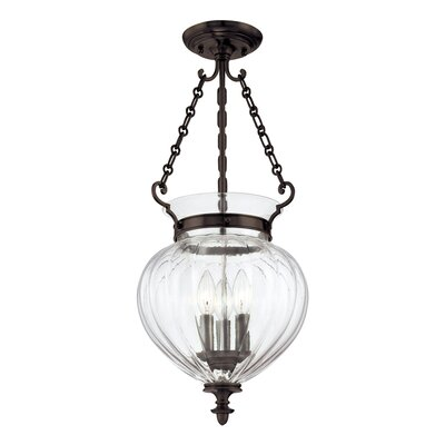 Eric 9.25 3-Light Semi Flush Mount Finish: Old Bronze, Size: 23.25H x 11W