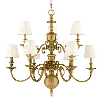 Philbrook 9-Light Shaded Chandelier Color: Aged Brass