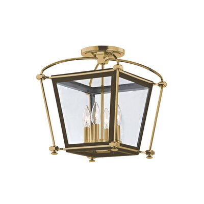 Kim 4-Light Semi Flush Mount Finish: Aged Brass