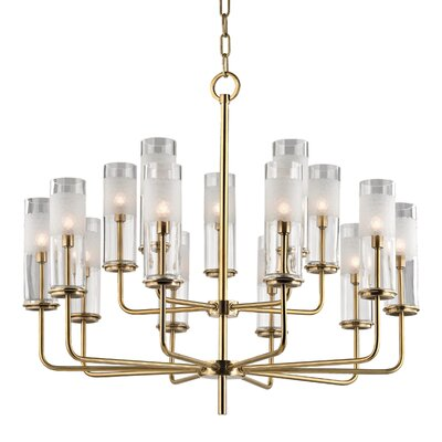 Lessman 15-Light Shaded Chandelier Finish: Aged Brass