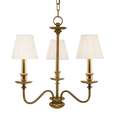 Jil 3-Light Shaded Chandelier Finish: Aged Brass