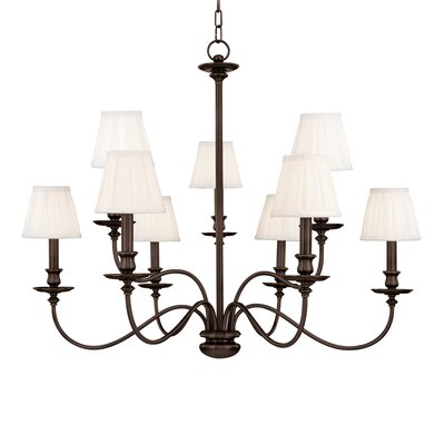 Jil 9-Light Shaded Chandelier Finish: Old Bronze