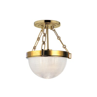 Hesson 1-Light Semi Flush Finish: Aged Brass